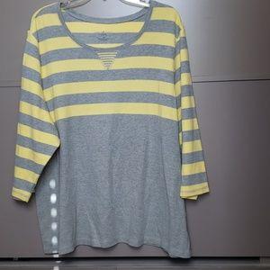 Karen Scott Striped knit Top Size 3X (#19)